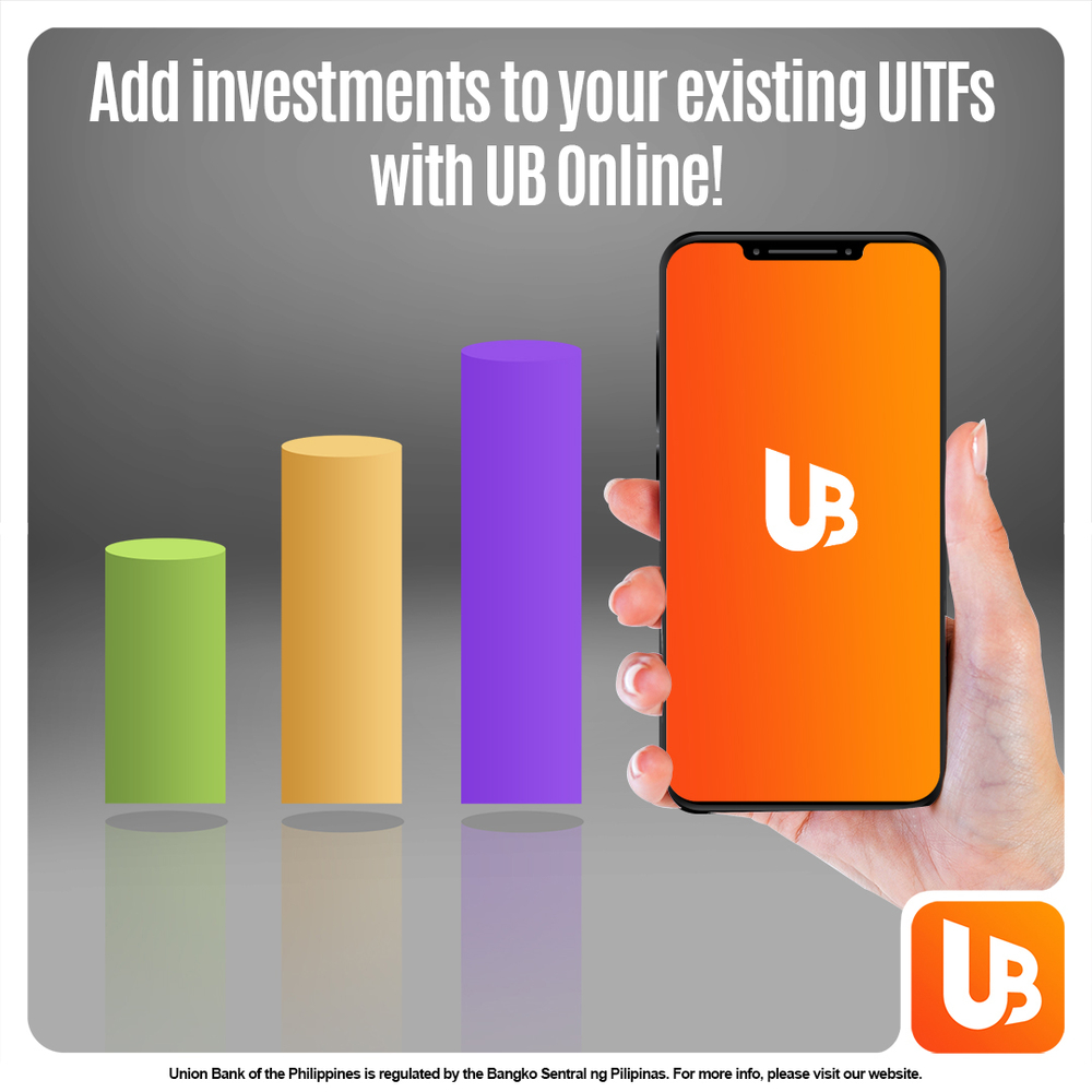 Now, you don't have to go to the bank to add investments to your portfolio. You can do it on your phone through UnionBank Online! Just make sure you already have an existing UITF account. Invest now and #BankFromHome.   DL the app today!