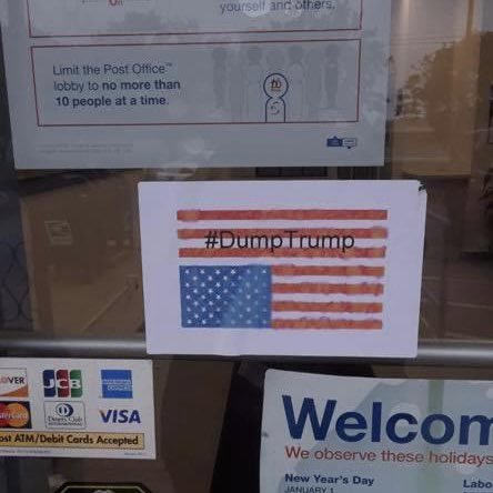 This is on the front door of a US Post Office in Thorndale, PA. Unacceptable.