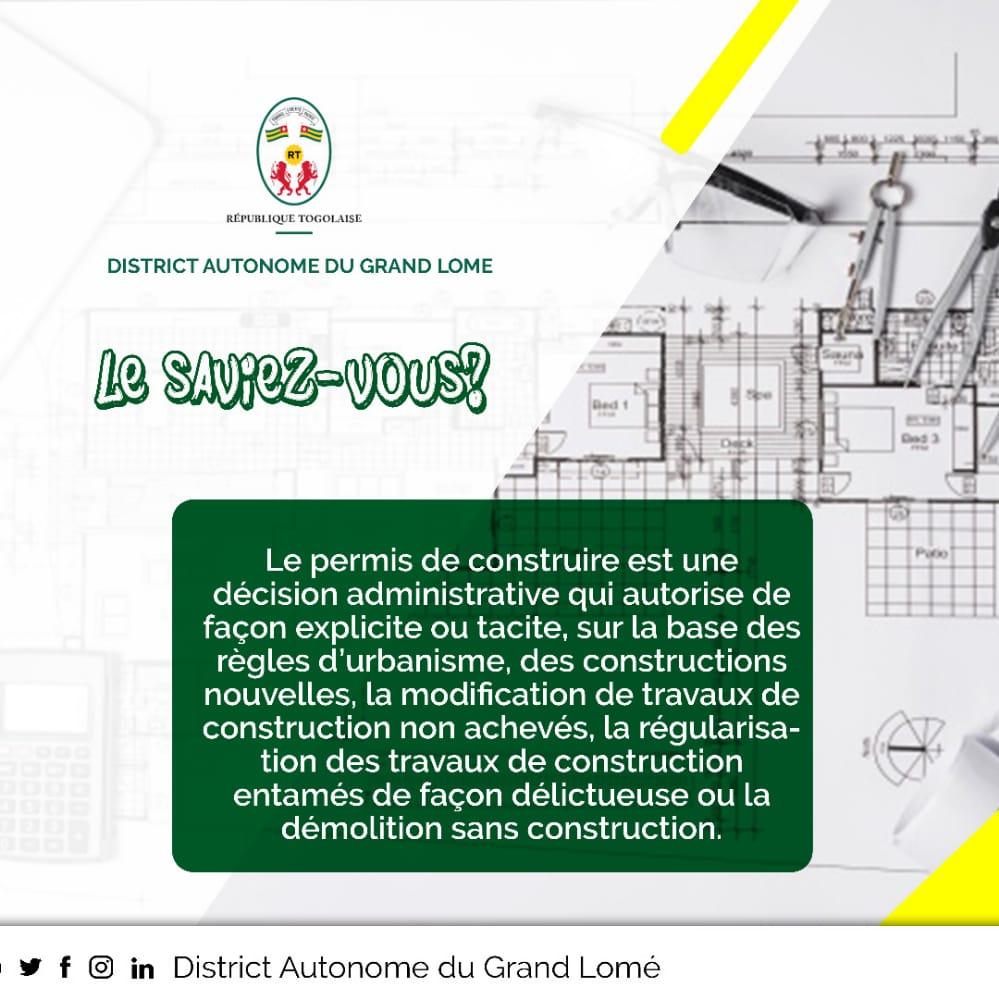 #LE_SAVIEZ_VOUS ?  #Le_Permis_de_Construire est une décision administrative qui autorise de façon explicite ou tacite, sur la base des règles d'urbanisme, des constructions nouvelles, la modification de.....   #DAGL #PermisDeConstruire #GrandLomé https://t.co/vLkIhNKBF7