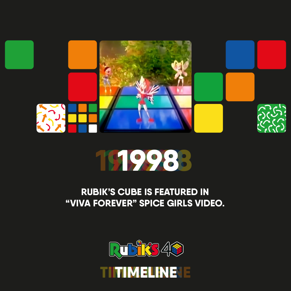 1998   Rubik's Cube is featured in #VivaForever @spicegirls video! @GeriHalliwell @victoriabeckham @MelanieCmusic @EmmaBunton @OfficialMelB  https://t.co/f9Sx6E756S #SpiceGirls #GirlPower #RubiksCube #RubyRubiks #AdventureEveryTurn https://t.co/MXCE7Mg5mF