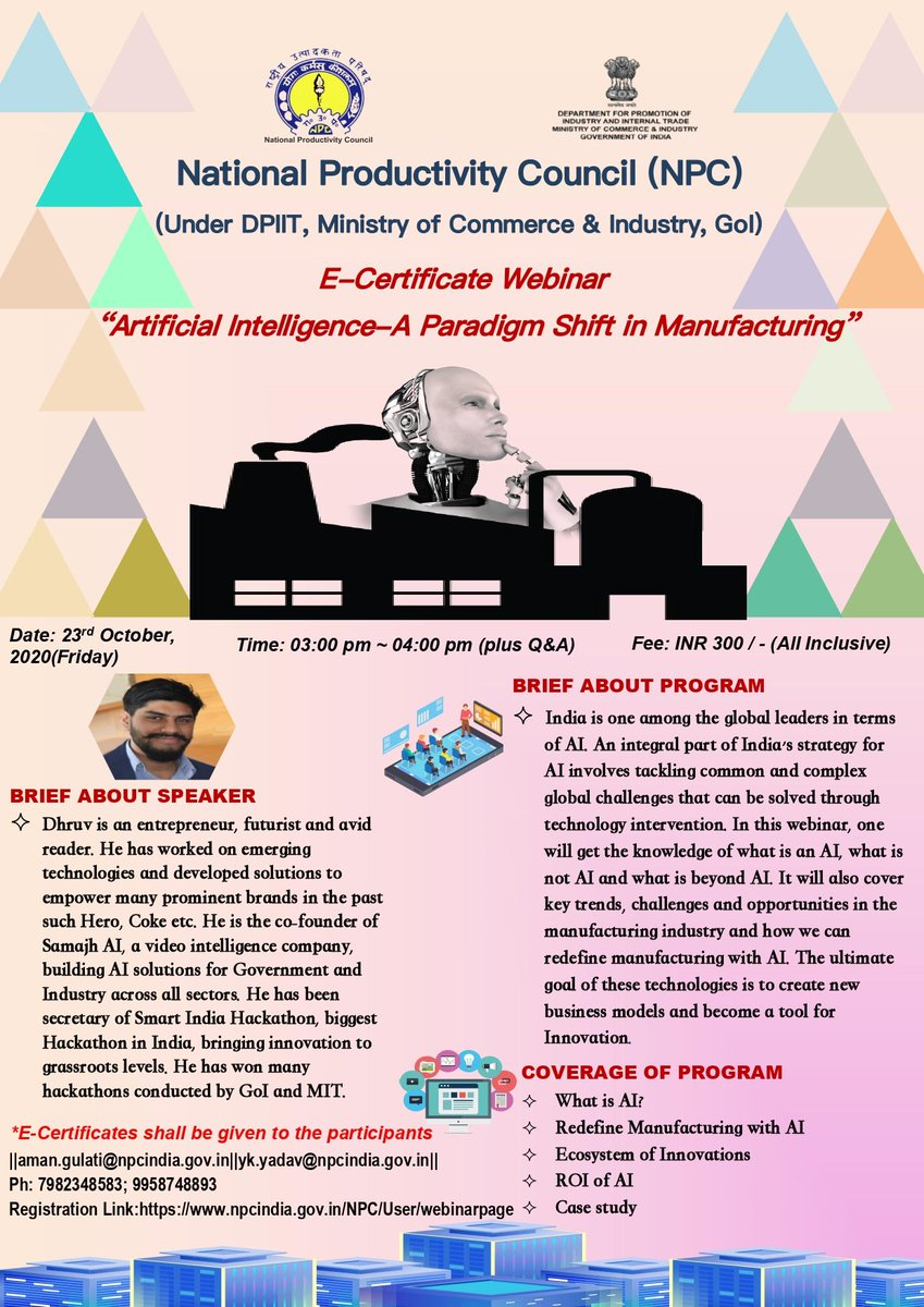 "Join Webinar on ""Artificial Intelligence-A Paradigm Shift in Manufacturing"" and learn how #AI is revolutionizing 23 Oct 3 PM @KwalityGroup @KashiFoods @matsuya_foods @PriyagoldGroup @YakultIndia @Horlicks_india @sfmomsmagic @KINDSnacks @CocaCola_Ind @bigbasket_com @himalayanorg https://t.co/Zu5BOYUZwn"