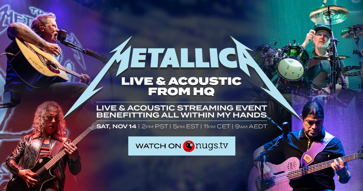It's official! #HelpingHands2020 is happening on November 14 at 2pm PST, but this time it's a worldwide, pay-per-view, streaming event! Join @Metallica for a LIVE & acoustic set straight from HQ! Learn more & get your ticket at https://t.co/b3WjiGOqHH. #AWMH #MetallicaGivesBack https://t.co/DW2K6ULhYB