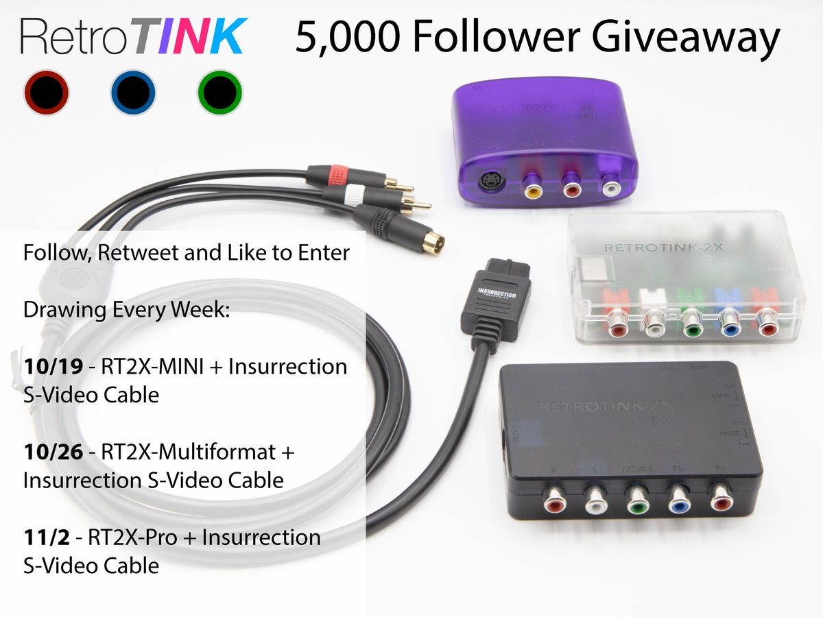 5K GIVEAWAY!  FOLLOW, RETWEET AND LIKE TO ENTER  10/19 - RT2X-MINI + Insurrection SNES/N64 S-Video Cable 10/26 - RT2X-MULTI + Insurrection S-Video Cable 11/2 - RT2X-Pro + Insurrection S-Video Cable  Special thanks to @Insurrection33 for making this possible!!