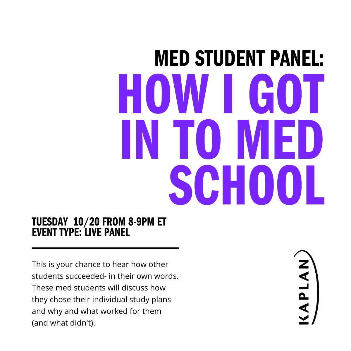Hear from current med students themselves on what worked for them when they prepared for their MCAT and their applications. Join us for this live panel on 10/20 and bring ALL your questions. And we mean ALL of them. Register here: https://t.co/T3qT9j57Lq #futurephysician https://t.co/lzbnFLcsfv