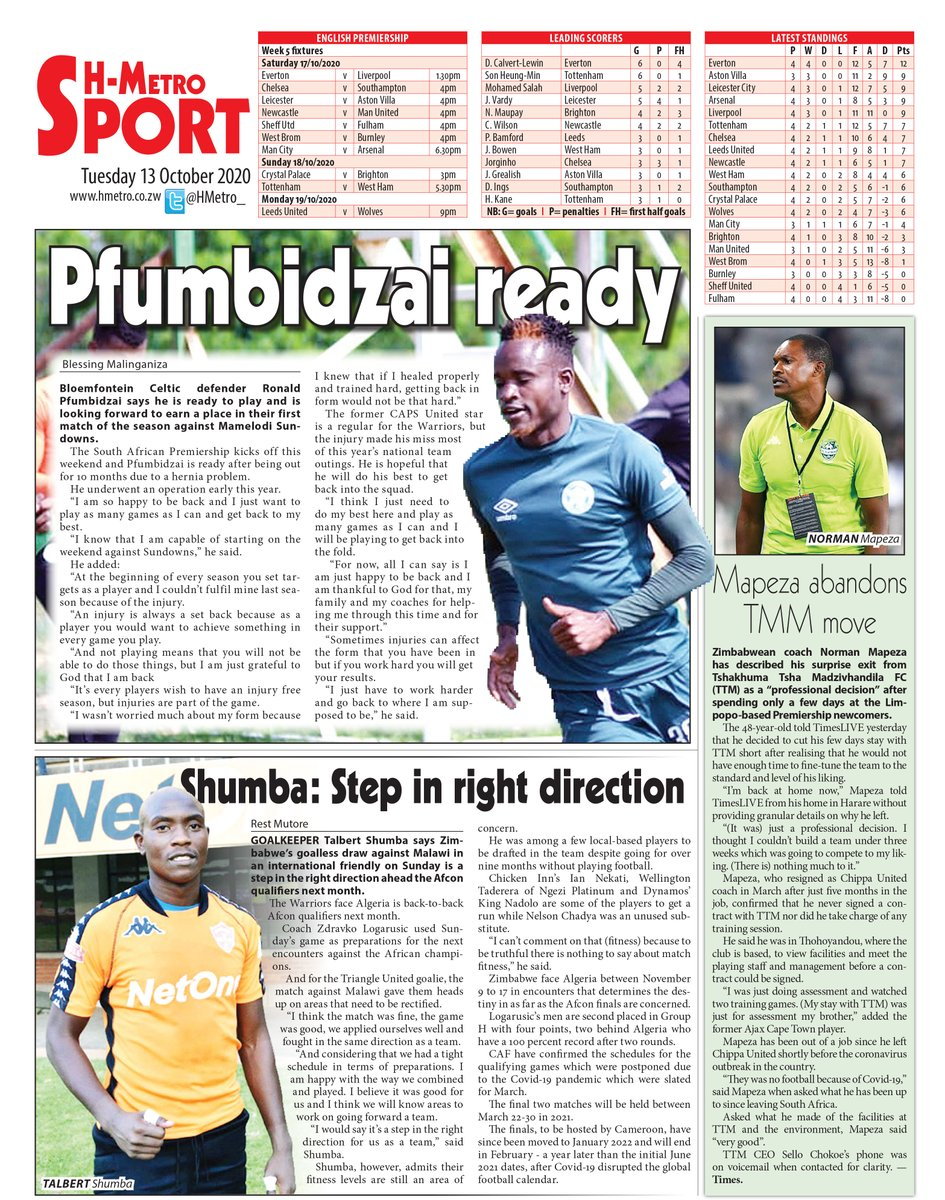 Todays back page @HMetroSport : 🔴Pfumbidzai ready 🔴Shumba: Step in right direction 🔴Mapeza abandons TMM Move: Get more @ hmetro.co.zw