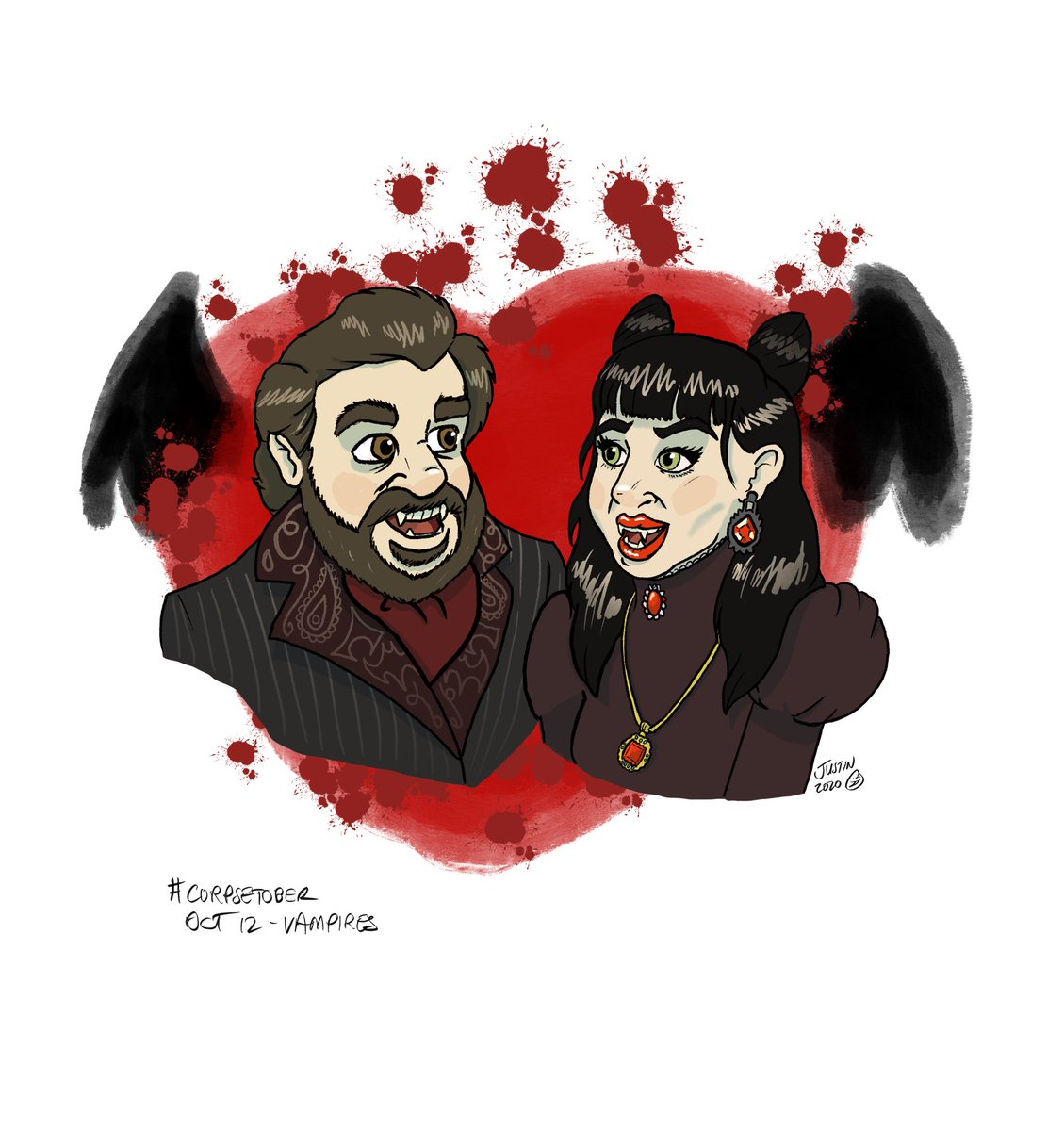 Today's #corpsetober prompt was VAMPIRES What We Do In The Shadows was such a great flick and I'm so glad the show is just as good... now if we only got the sequel... 🤔 #corpsetober2020 #vampires #whatwedointheshadowsfx #mattberry #natasiademetriou #nadja #laszlo #vampire https://t.co/zYCiQnlbDg