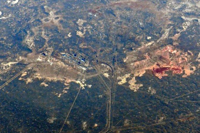 Космодром перед стартом, снимок космонавта Ивана Вагнера с МКС