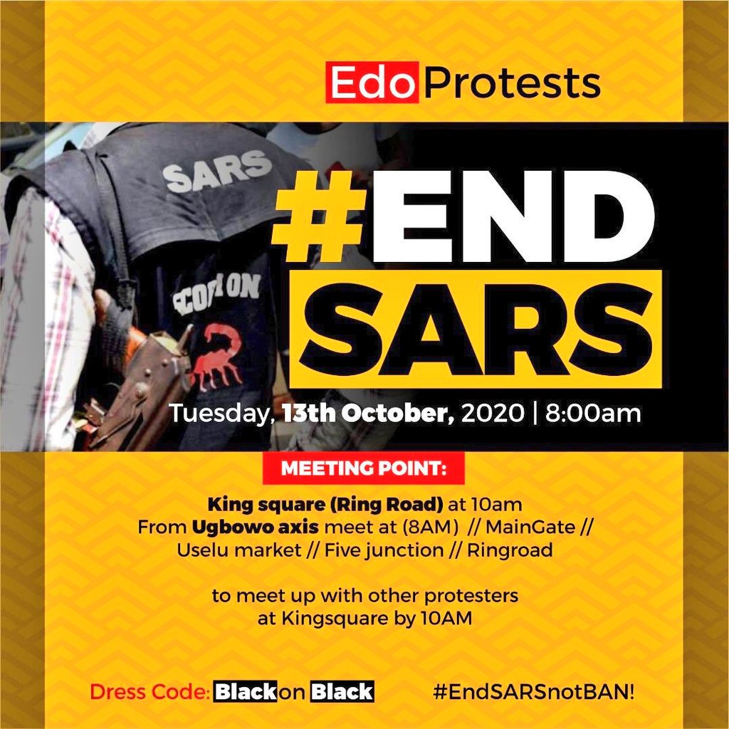 #Edoprotest RETWEET AND ENGAGE AGGRESSIVELY, #SARSMUSTEND HAS TO KEEP TOPPING THE TREND TABLE TILL THEY END SARS 🗣  WE PROTEST OFFLINE AND ONLINE USE THE HASHTAGS!!🗣 #SARSMUSTEND  #EndPoliceBrutality  #AppleEvent @vikiing_  #Edoprotest #EdoDecides2020  #EndSARSImmediately https://t.co/gcBuM6eCnO