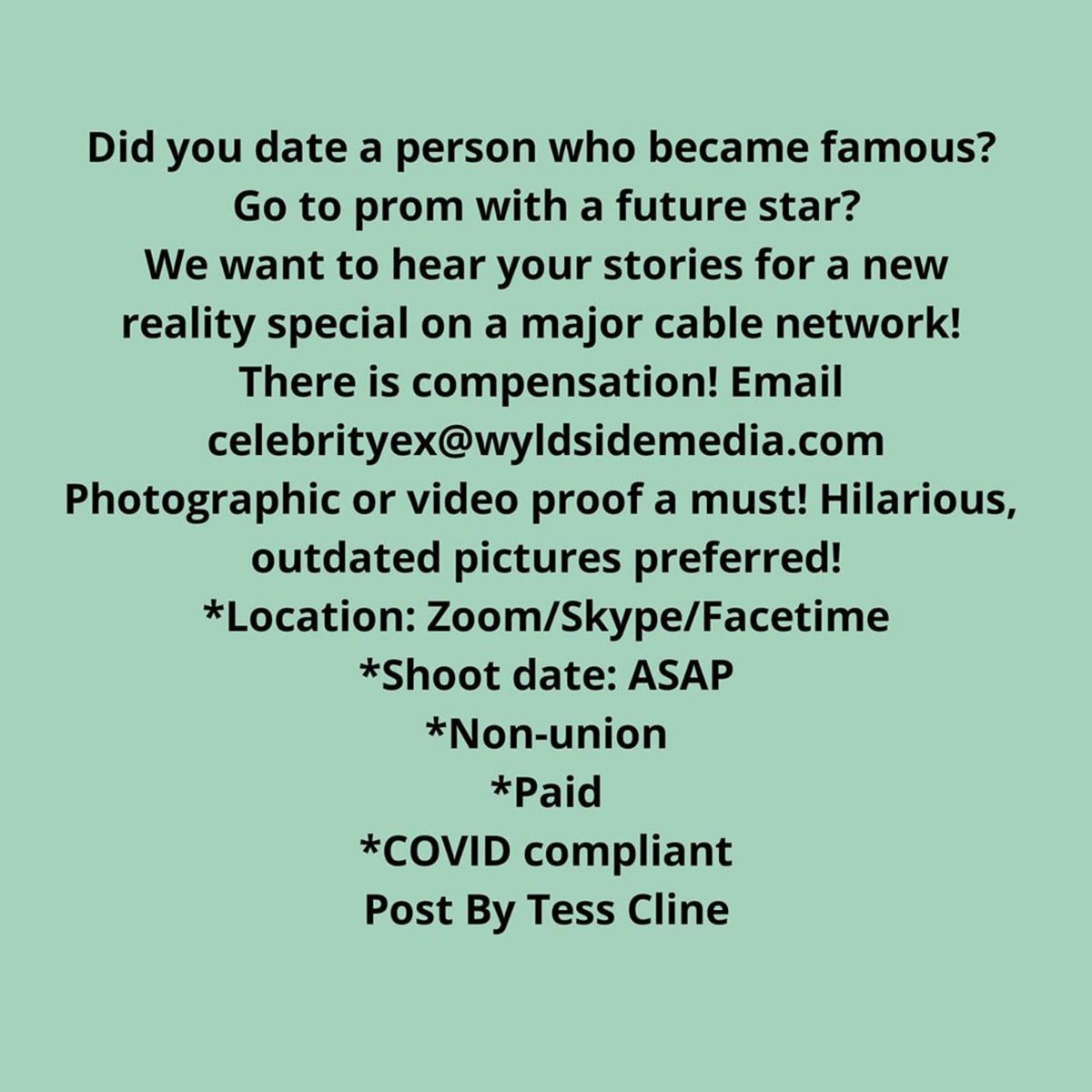 #NationwideCasting #DatingShow #RealityShow #CastingCall #Paid Did you date a person who became famous? Go to prom with future star? We want to hear your story for a new reality special on a major cable network!  Please email celebrityex@wyldsidemedia.com. #IVPromo https://t.co/WjEmGaHrNX
