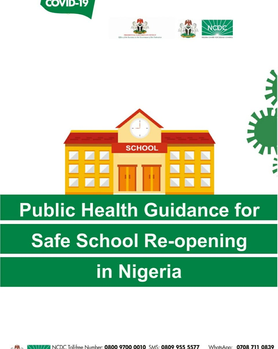 Schools should; ✅ Identify a centre point where everyone gaining access is screened for high temperature, requested to wear face masks & wash their hands. ✅ Ensure that classrooms are well ventilated. Download Guidelines for School Re-Opening via: covid19.ncdc.gov.ng/media/files/Pu…