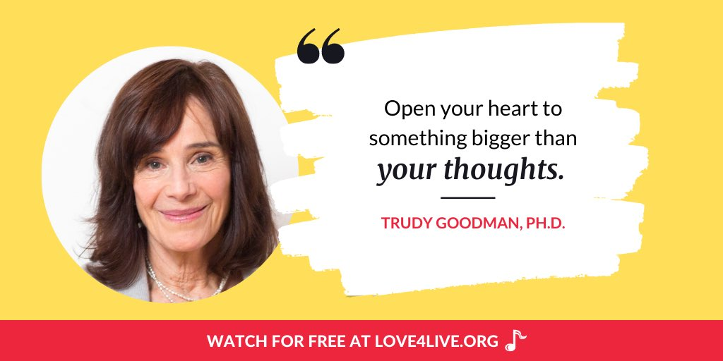 """""""Open your heart to something bigger than your thoughts"""" - @TrudyGoodman Trudy and Jason discuss love in the time of Covid and end with a meditation of lovingkindness for our bodies. Learn more at: love4live.org/trudygoodman-k…"""
