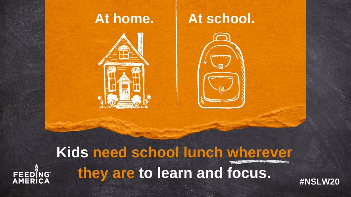 """🏫 1 question students shouldn't have at school? """"Where's my next meal coming from?""""  🍎 Using key @USDA flexibilities that boost access to school meals, food banks are helping to ensure no child goes hungry during the school day. Learn more: https://t.co/jslGOCGxOj #NSLW20 https://t.co/ObPm6YvAfO"""