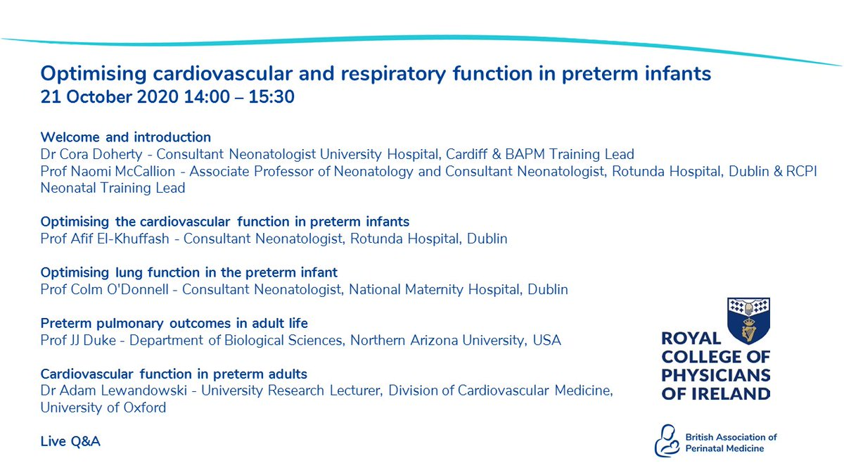On 21st October we'll be joined by @JJDuke10, @afif_elKhuffash, @DrAJLewandowski, and @HMactier for a webinar to discuss optimising cardiovascular and respiratory function in preterm infants.  Free for BAPM and @RCPI_news members, £10 other.  Book: https://t.co/TtUDJxj0TD https://t.co/iqTcWx32cv