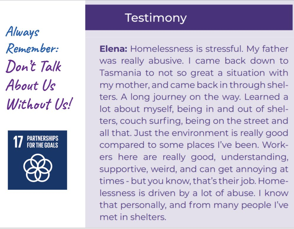 This testimony was shared at our Symposium on Friday. Lived experiences and voices must be included at the United Nations, and are an essential part of UNANIMA International research. #hiddenfacesofhlmelessness #makingahome4everyone #donttalkaboutuswithoutus