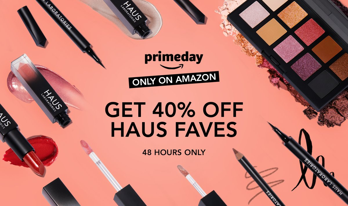 IT'S #PrimeDay    Find some of your favorite HAUS products for 40% OFF now on @amazon (US) ✒LIQUID EYE-LIE-NER: $12 (was $20) 💄SPARKLE LIPSTICK: $12 (was $20) 🎨GLAM ROOM PALETTE NO.1: FAME: $20.40 (was $34) And MORE 👀  Shop at https://t.co/iVZkBlPEfP Ends 10/14 midnight PT https://t.co/OxwxSh49Wi