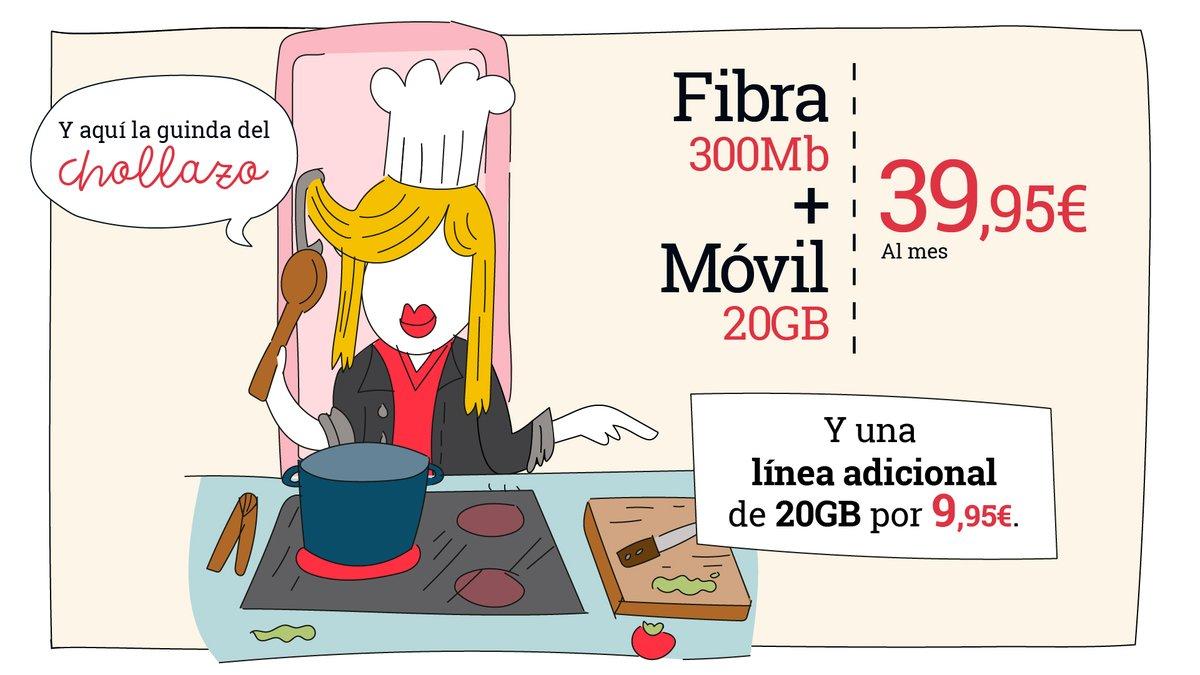 🧑🍳Para esta receta, añadiremos una fibra de 300Mb a una línea móvil de 20GB. Y lo que le da el toque final, una línea adicional de 20GB por 9,95€. Esto sí que es *besito de chef*   ¡No te quedes sin la guinda del pastel! 👉https://t.co/4kvRT5xxqH 👈  #Receta #Móvil #Martes13 https://t.co/IN6ZpOnD3q
