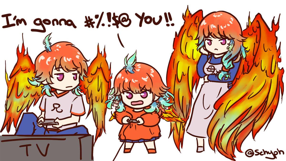 Wholesome smol phoenix playing video games:  Mama Phoenix: Language, Kiara!   #ArtsOfAshes   #絵ニックス  #holoMyth  #hololiveEnglish