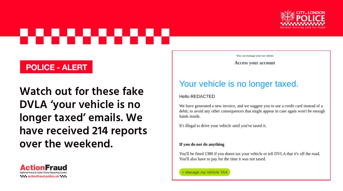 SCAM WARNING⚠️: Watch out for these FAKE @DVLAgovuk emails, we have received over 214 reports in just two days!  If you get sent a suspicious email, you can report it by forwarding the email to - report@phishing.gov.uk https://t.co/c6yzJ9cJ2C