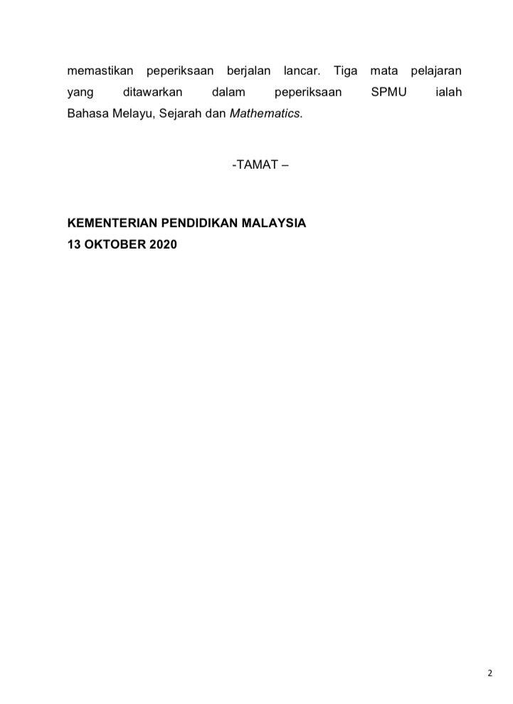 kpm on twitter kenyataan media keputusan peperiksaan sijil pelajaran malaysia ulangan tahun 2020 https t co ng9fh0hiwe kpm on twitter kenyataan media