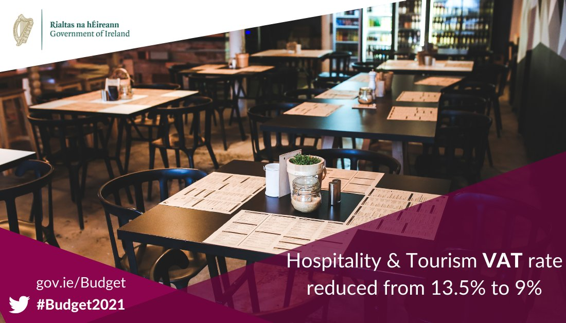Minister @Paschald has announced a reduced VAT rate for the hospitality and tourism sector from 13.5% to 9% with effect from 1st November 2020 #Budget2021 https://t.co/4UOIEtZyac