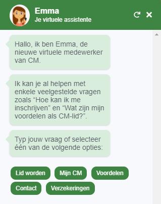Op zoek naar info of een vraag voor ons? Maak kennis met Emma, onze virtuele assistente. Zij bezorgt je meteen een antwoord of verbindt je met een collega. Je vindt onze #chatbot Emma via het contactwidget op de website. https://t.co/0T3w7l0xiJ