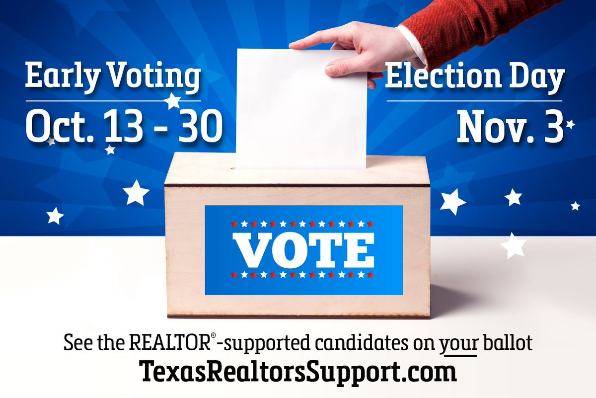 Early voting in the Nov. 3 election starts today (Oct. 13)! See the REALTOR®-supported candidates on your ballot at https://t.co/PovwzVl756. #RealtorsVote https://t.co/PQ4qLn3n7b