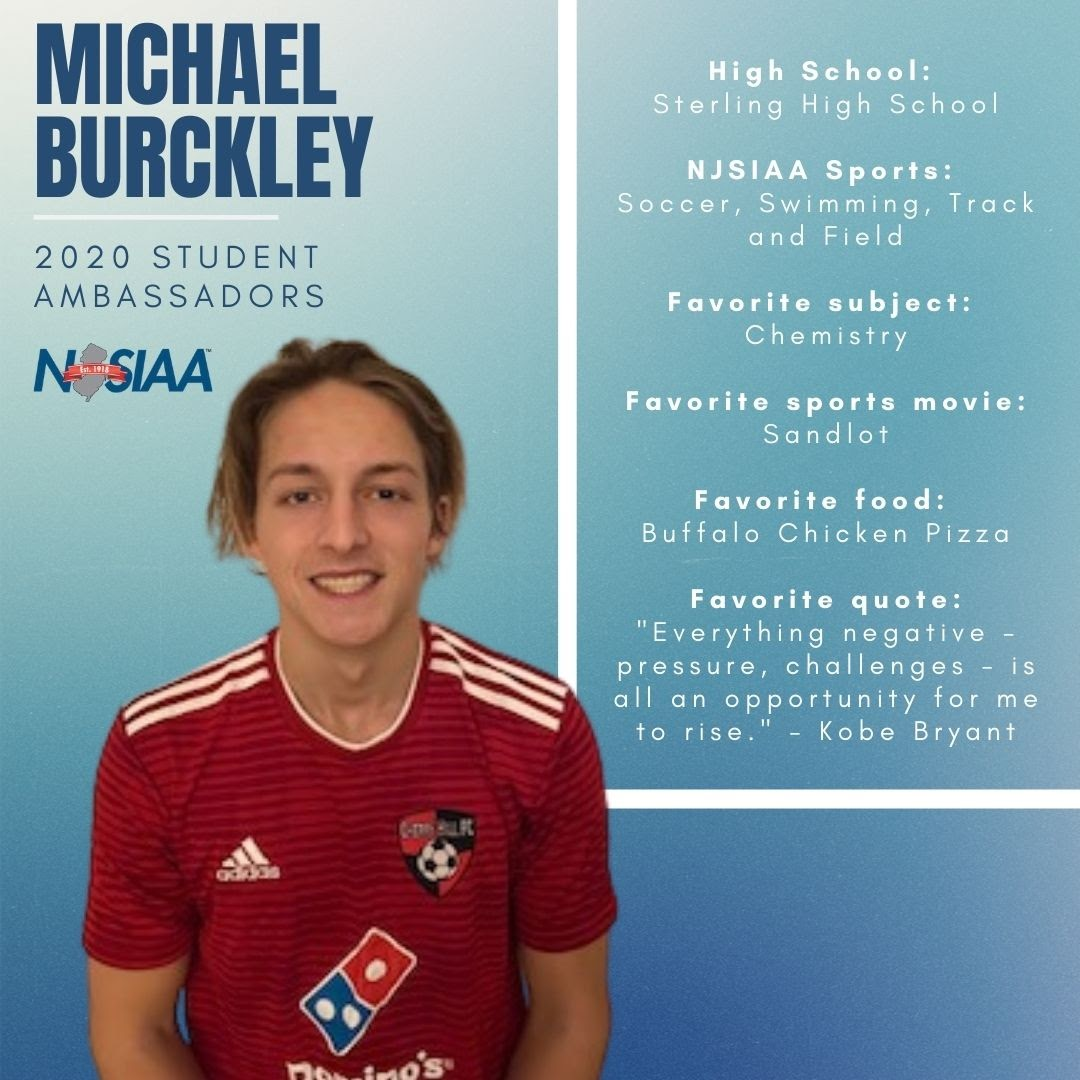 Get to know a little bit about our 2020 Student Ambassador, Michael Burckley! #NJSIAA is happy to have you on board!