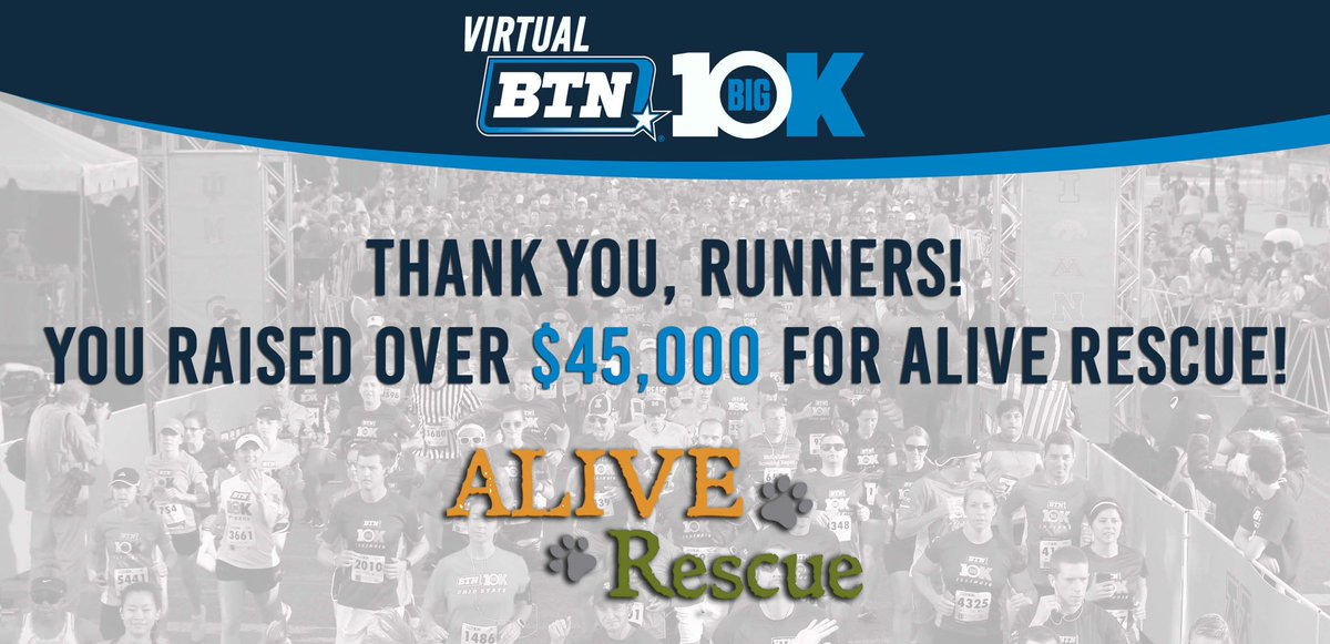 ‼️WOW is an understatement!   We were again very fortunate to be picked as a charity partner for the @bigtennetwork - Virtual Big 10K! Their network and amazing runners helped deliver us a check for $45,000 and we are AMAZED and GRATEFUL!   Thank you Big Ten Network & runners! 🧡 https://t.co/tV70MrNu4v