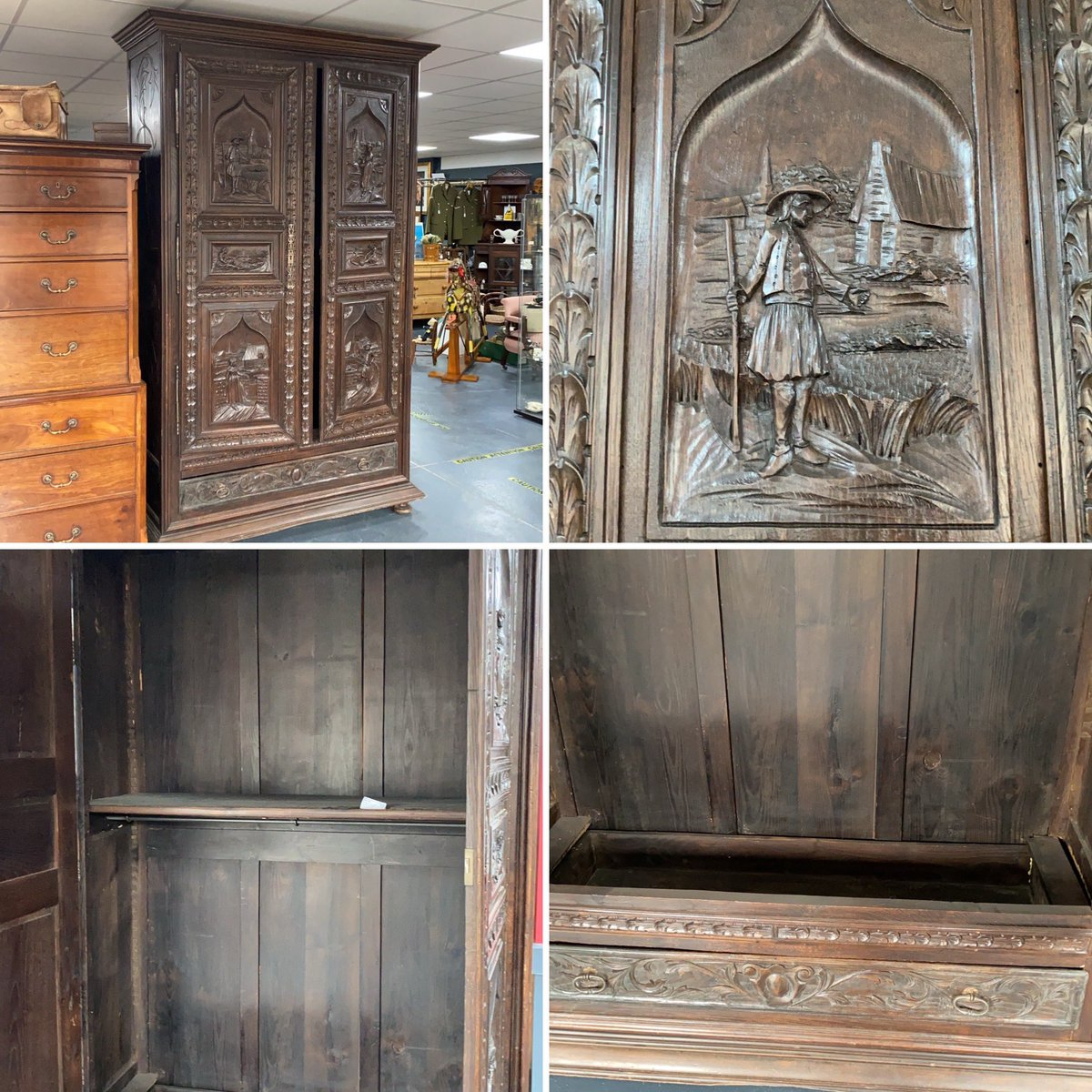 Leaving you tonight with this large carved continental cupboard. #seeyoutomorrow #astraantiquescentre #hemswell #lincolnshire #carved #continental #continentalcarvedfurniture #funiture #carving https://t.co/Pb3fhwDMiY