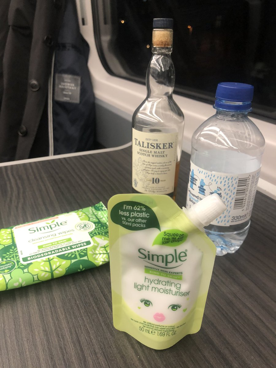 Just pulled into a station, and my carriage, empty save me, came to a halt in front of a row of people on the platform. At that moment, in my dog collar, I was removing my make up with cleansing wipes and moisturiser, a bottle of Talisker open on the table in front of me.