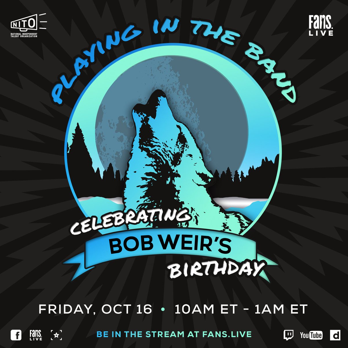 This Friday, on my birthday, @FansBelongHere is hosting a stream of archival shows, memories, musical selections and more. Tune in and support the @NITO_Live while you watch here: fans.live.