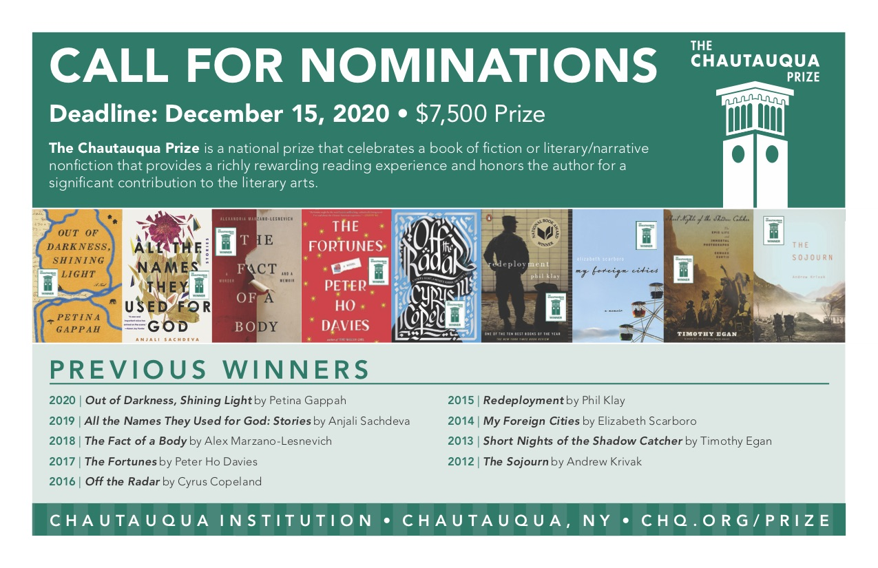 2021 Chautauqua Prize nomination call