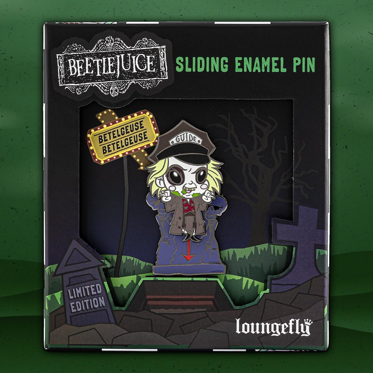 Our limited edition Beetlejuice pin has arrived! Shop now at bit.ly/3dqxqmA while supplies last! 🖤💚🖤 #PinCollector #Loungefly #Beetlejuice