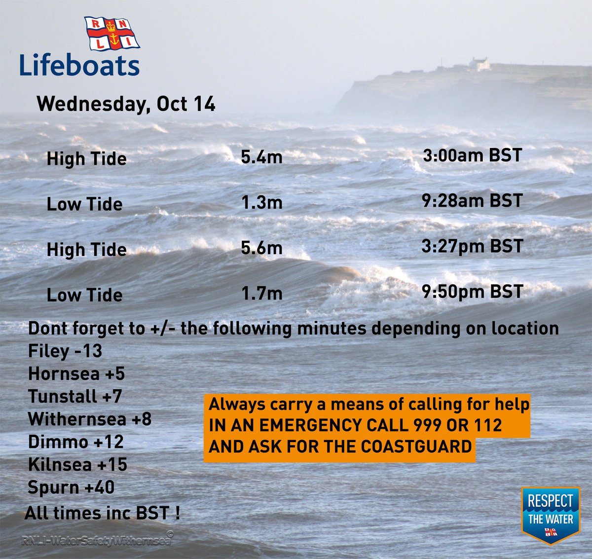 Wednesday Oct 14 2020🌊⏲️ #RespectTheWater #BeWaterAware #BeBeachSafe #TideTimes #WaterSafety #Withernsea https://t.co/NvSALAsvtB
