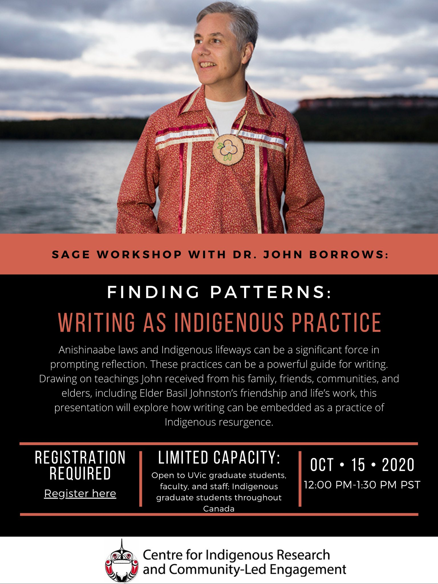 """CIRCLE - UVic on Twitter: """"This Thursday, CIRCLE UVic is excited to have  Dr. John Borrows joining us for a SAGE workshop titled """"Finding Patterns:  Writing as Indigenous Practice"""". Follow this link to register  https://t.co/WkM7CqoOVR… https://t.co ..."""