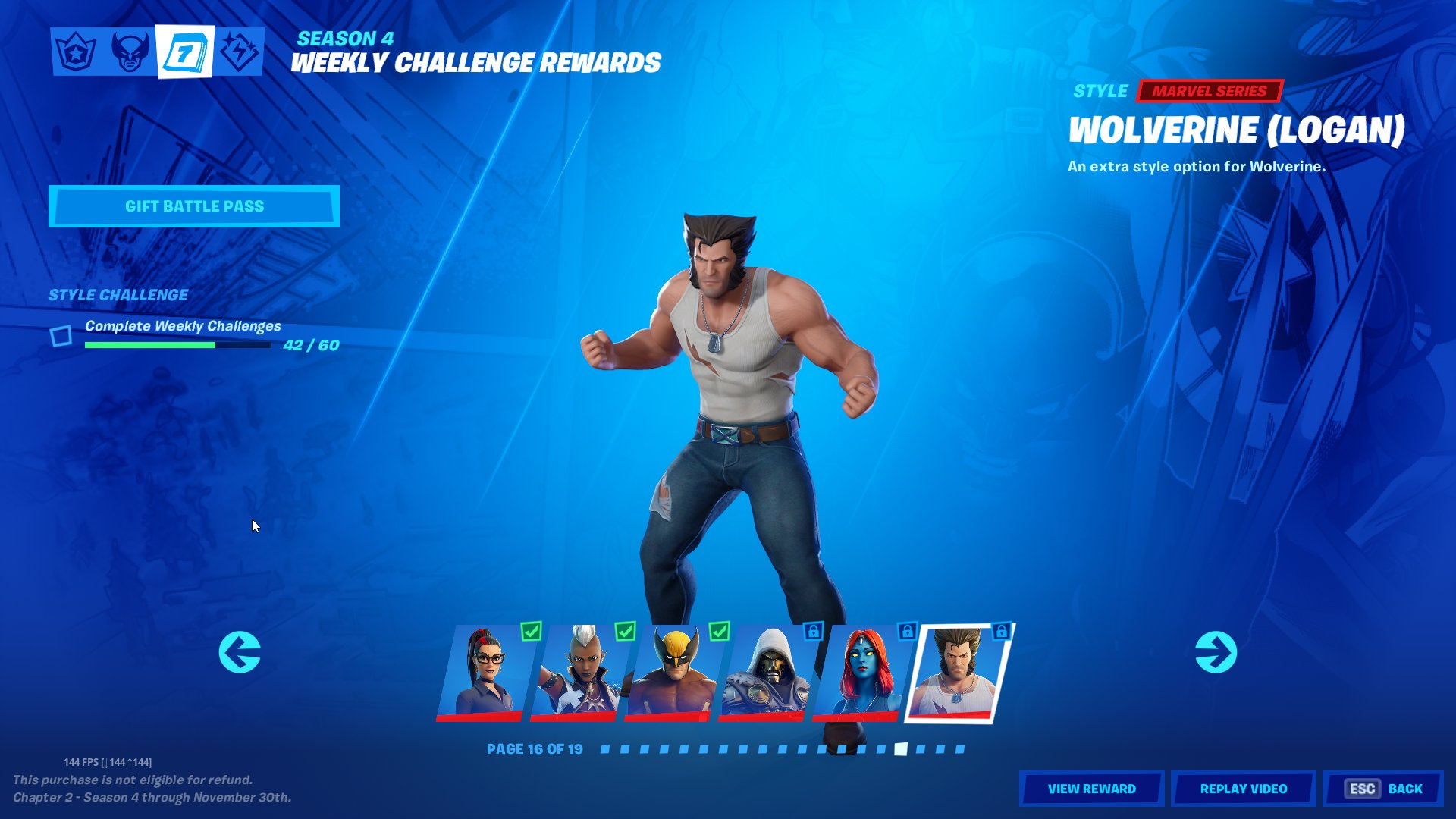 Firemonkey Fortnite Intel On Twitter The Logan Variant For Wolverine Officially Shows Up In The Battle Pass Weekly Challenge Reward Tab Now