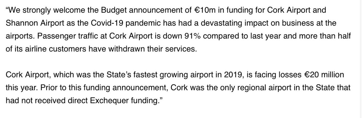 For the first time in a Budget, in recognition of the devastating effects of COVID19, @CorkAirport will have access to capital funding under a €10 million Exchequer-funded programme. This funding will go some way to protect our cash position in dealing with the #COVID19 crisis. https://t.co/DpsHSmfXJ6