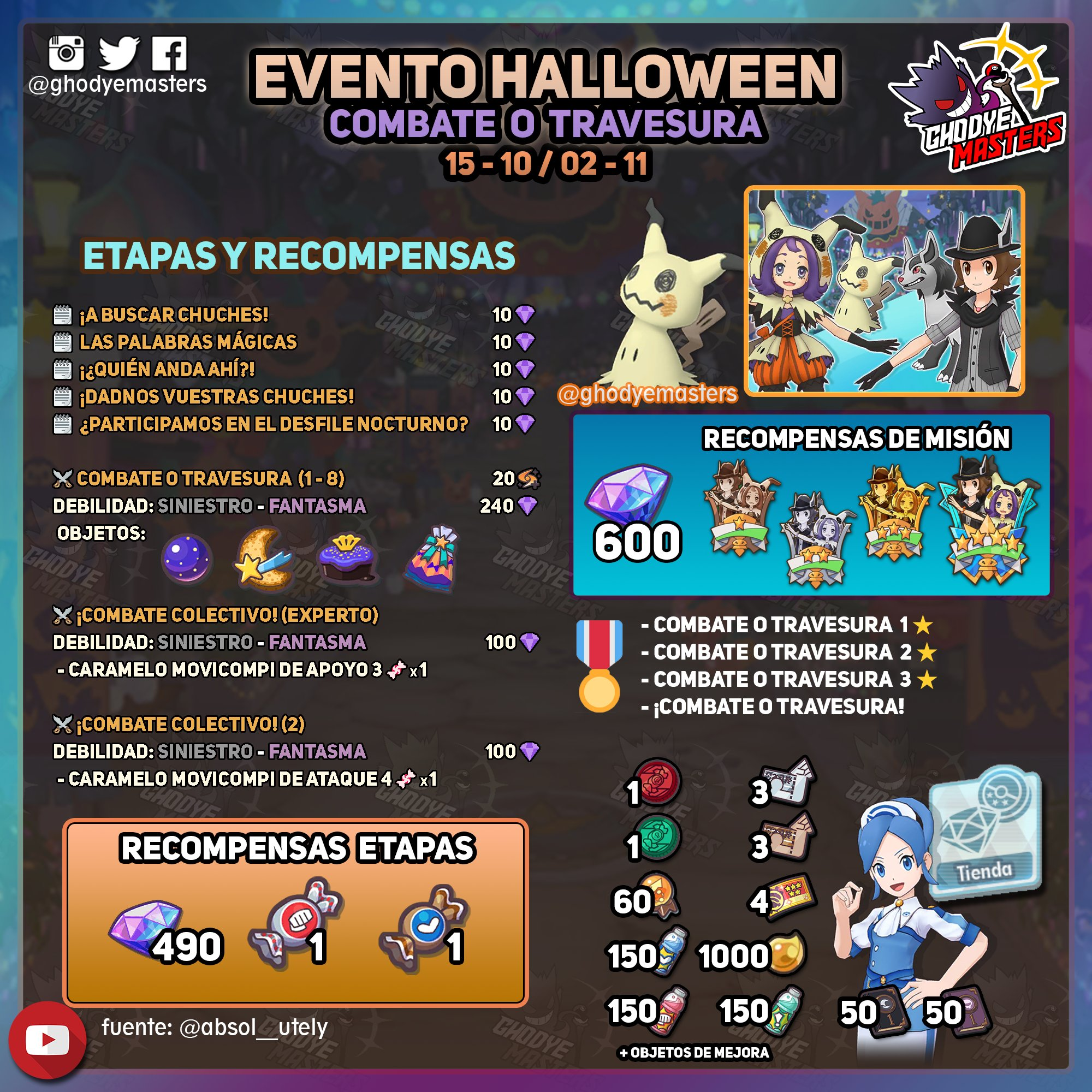 Evento Halloween 2020 Pokémon Masters EX