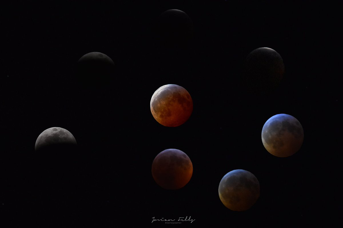 After over a year of taking the 2019 Lunar Eclipse picture, I finally did what I wanted and made a composite image of the different phases leading up to totality! My first time too. Hope y'all enjoy. ☺️ #photography #astrophotography #lunarphotography #moon #lunareclipse https://t.co/5bf5wXca7G
