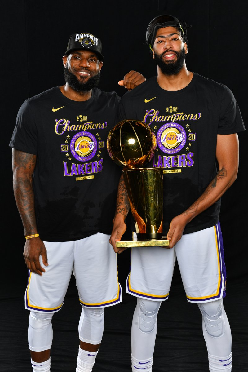 """LeBron told Anthony Davis they have """"more work to do"""" during their championship celebration, per @ChrisBHaynes  Never satisfied 👑 https://t.co/yNxkz63aQK"""