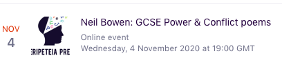 This is the CPD session on Power & Conflict poems with particular focus on AQA's poems.