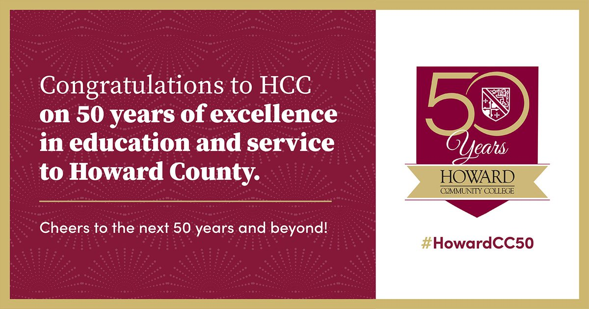 Happy 50th Anniversary, @HowardCC! Thanks for 50 years of empowering students to succeed. #HowardCC50