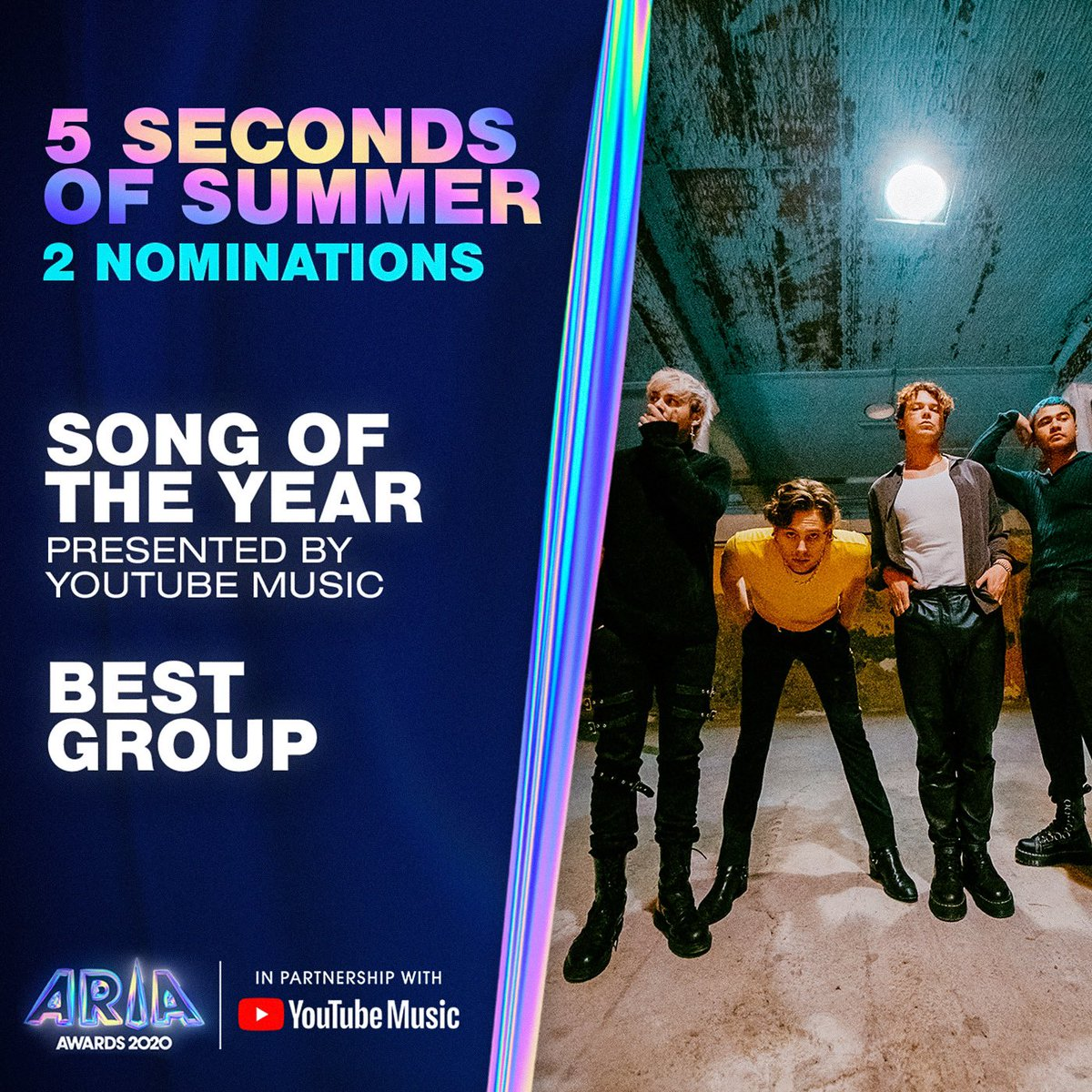 "We're nominated for 2 ARIA awards. Becoming and evolving as a group is a truly testing and awesome experience. And creating something that can be regarded as ""song of the year"" is truly incredible. Thank you @ARIA_Official 🙏"