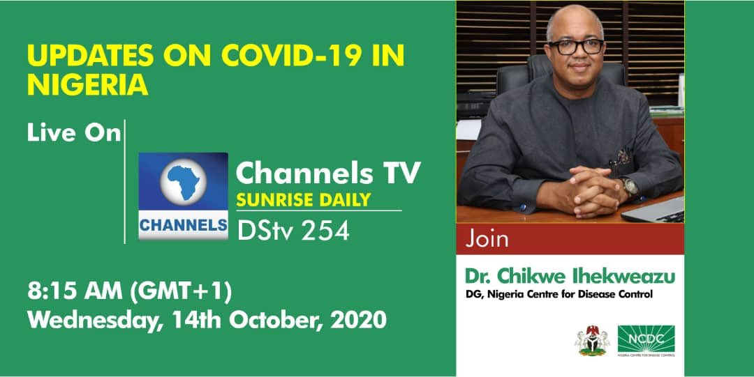 📢 COMING UP!!! Tomorrow on #SunriseDaily, DG @Chikwe_I will be live to discuss the latest on Nigeria's response to the #COVID19 pandemic. Tune to @channelstv to watch. Time - 8:15am #TakeResponsibility