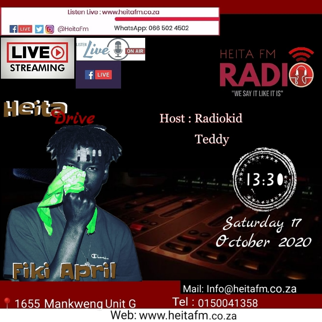@Fiki25April  iam going to be Handling a Cell phone interview with this Online Radio Station on the 17/10/2020 time is 13:30, do stream🙏 and listen #AprilNation🐏 #6ikisiIPILISI💊 https://t.co/cDRVCjY5ch