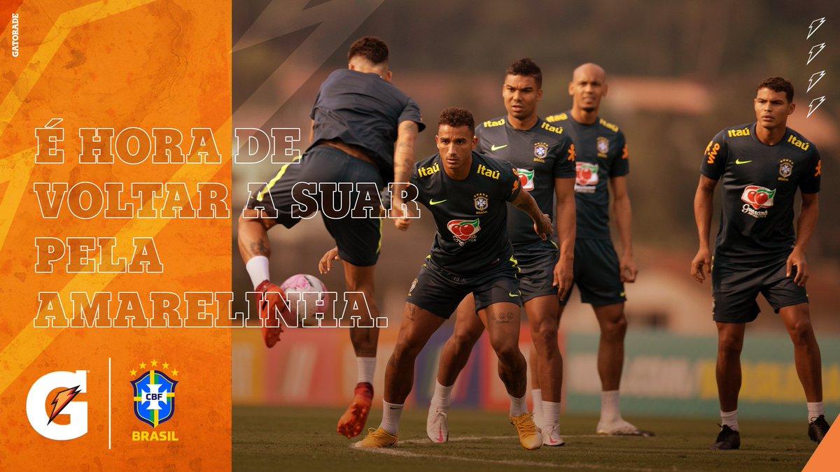 A Seleção está de volta. A garra está de volta. O suor está de volta. Gatorade. A hidratação oficial da Seleção Brasileira. https://t.co/pZxyH04xCm