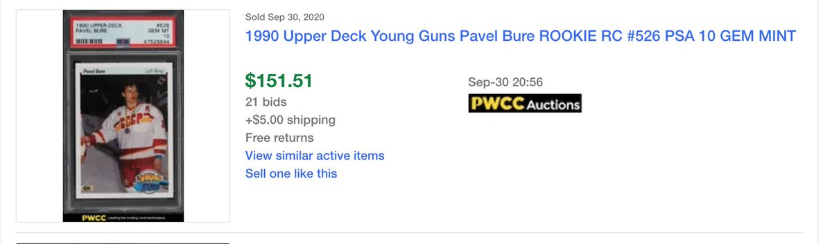 UPDATE: I decided to look at the recent sales of the Pavel Bure 1990-91 Upper Deck Young Guns rookie card & wouldn't you know a recent PSA 10 sale exceeded my valuation. It took a little more than a month. Always listen! https://t.co/rsjqXwYuqc https://t.co/wqD5WdFKDW