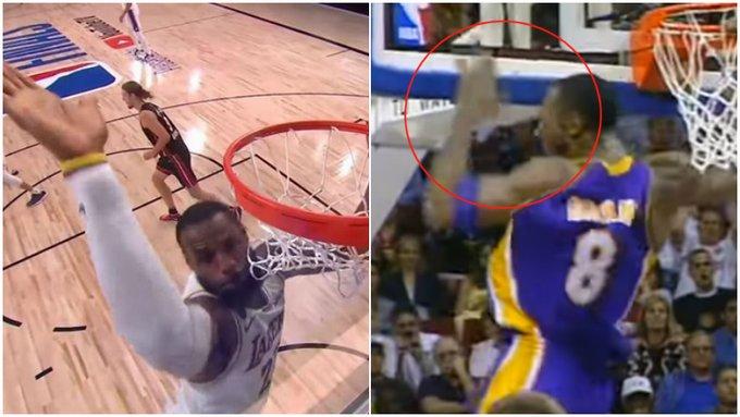 【影片】致敬Kobe?詹皇灌籃後拍籃板吃T,老大曾在18年前做出相同動作!-黑特籃球-NBA新聞影音圖片分享社區
