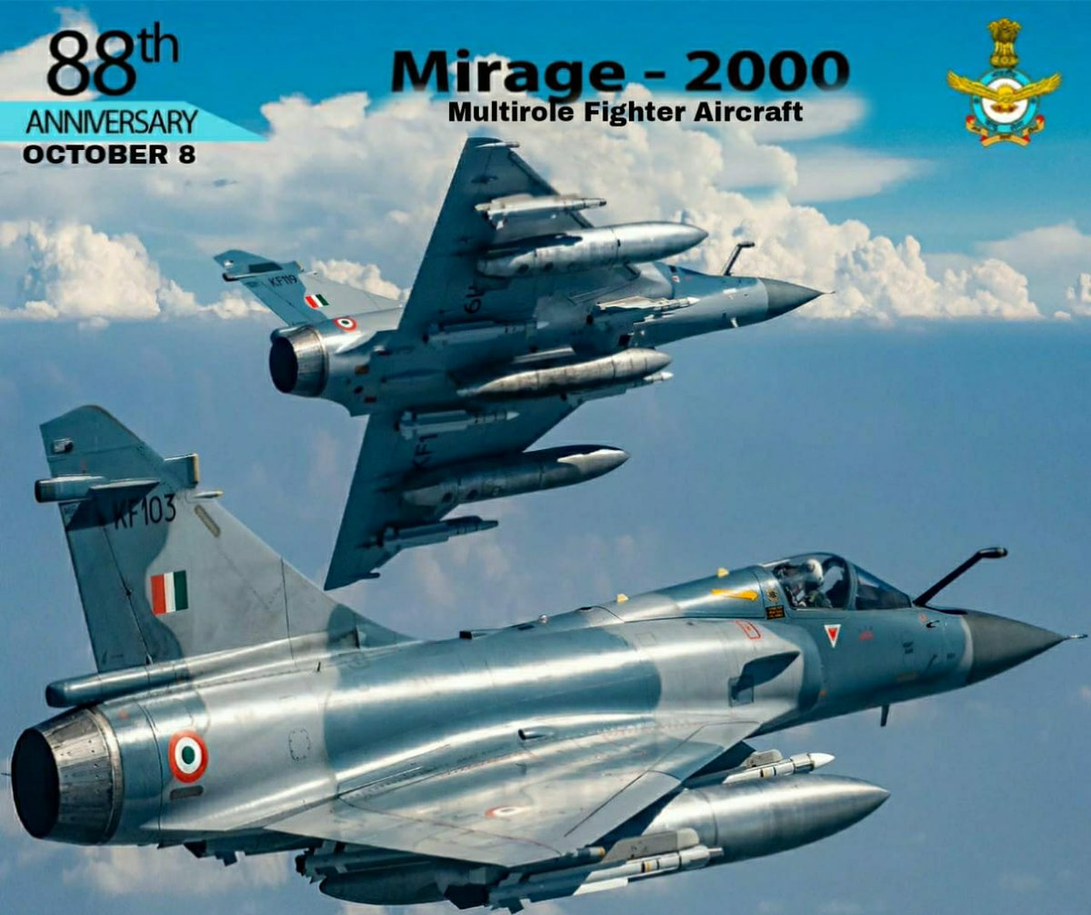 #AFDay2020 #Mirage2000, is a multirole fighter aircraft. It is equipped with state of the art avionics, EW suite & has the ability to carry out swing-role missions with smart weapons & BVR missiles. #IndianAirForce #KnowTheIAF