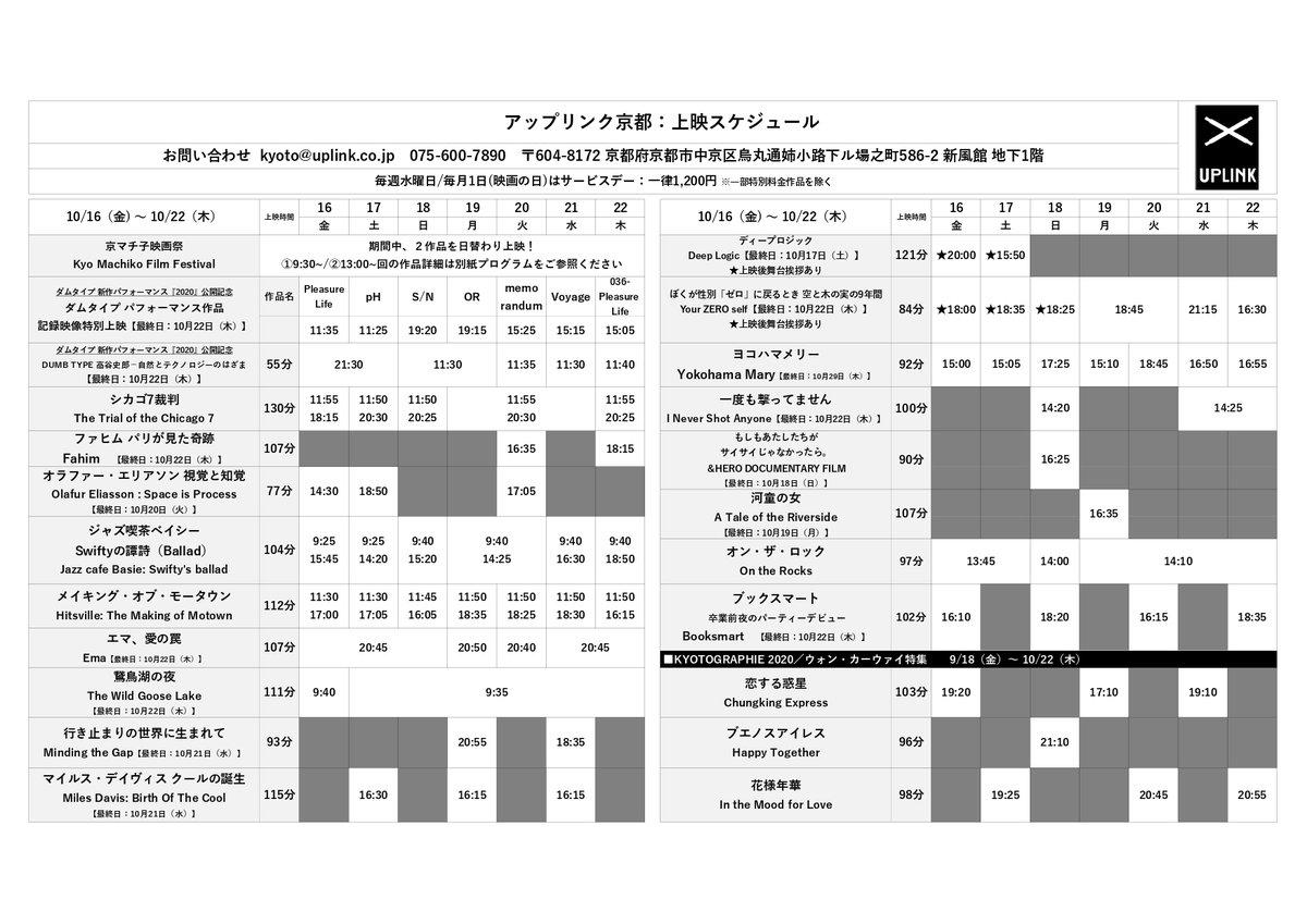 リンク スケジュール アップ 京都 上映